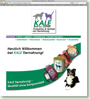 Website KALE Tiernahrung